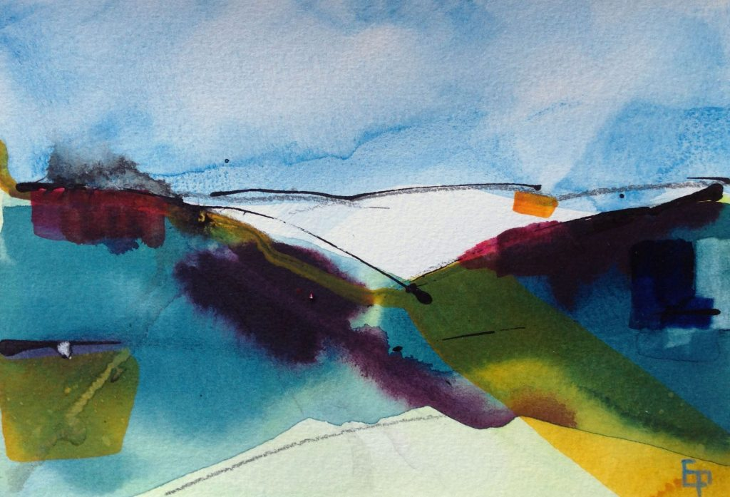 Abstract watercolour of a rural scene