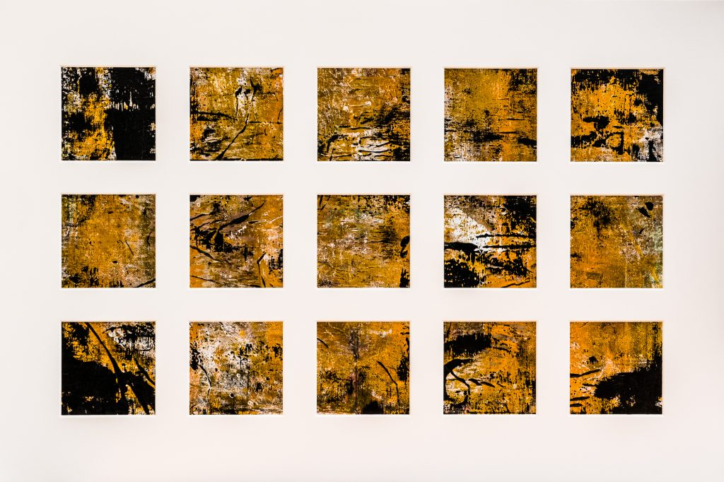 Abstract oil painting in 25 sections - in yellow and black