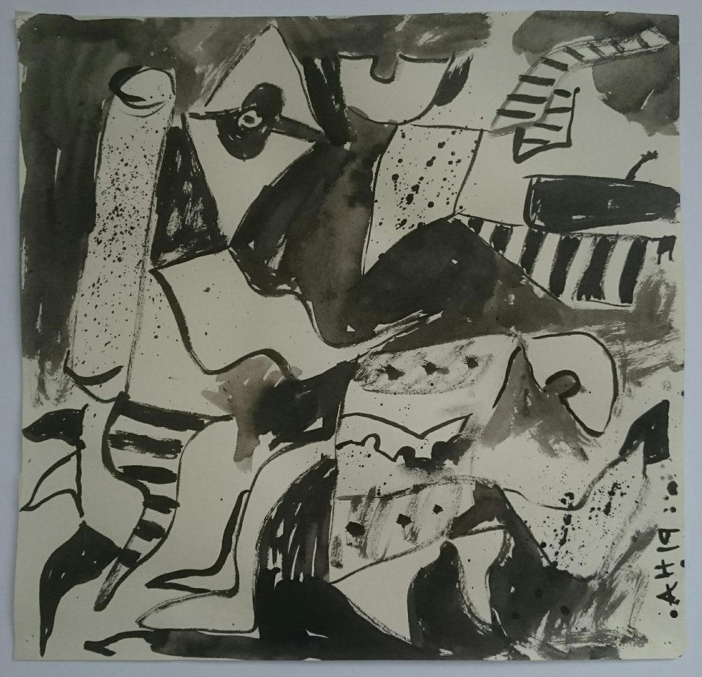 Abstract pen and ink drawing of expressive shapes and patterns