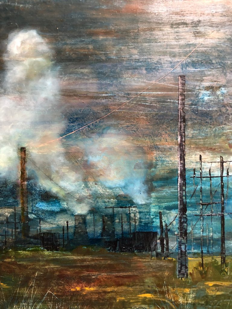 Oil painting of an industrial landscape with pylons, cooling towers and steam