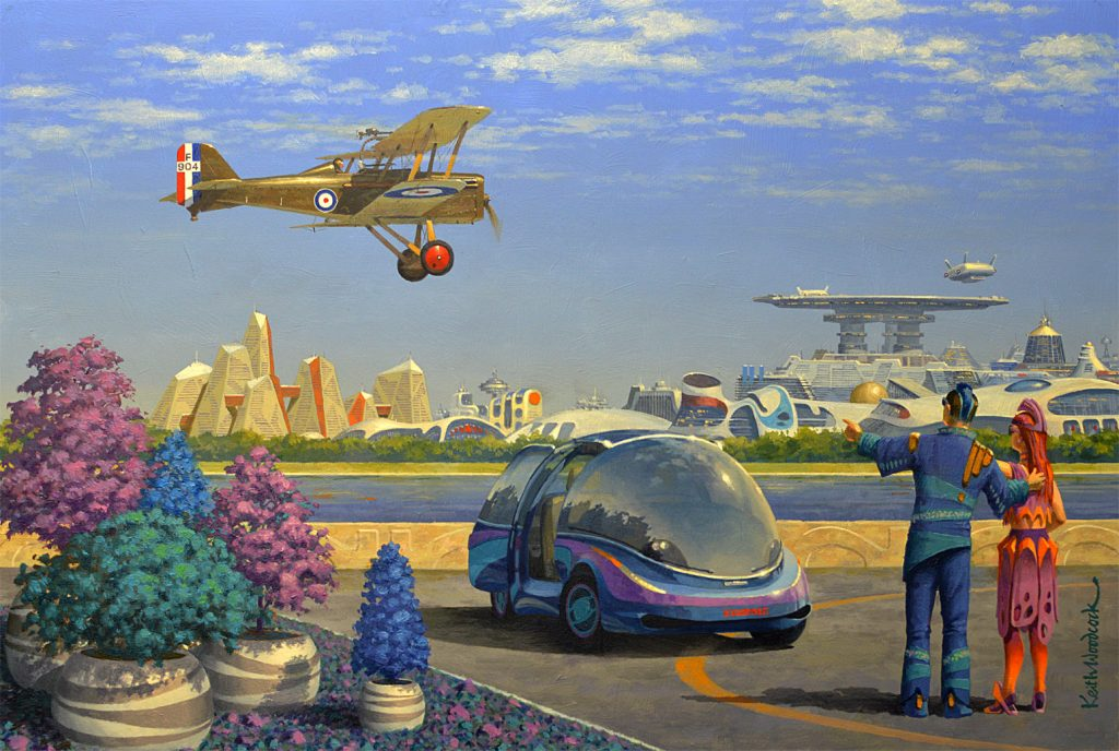 Oil painting of a futuristic city scene with car, plane and brightly coloured shrubs
