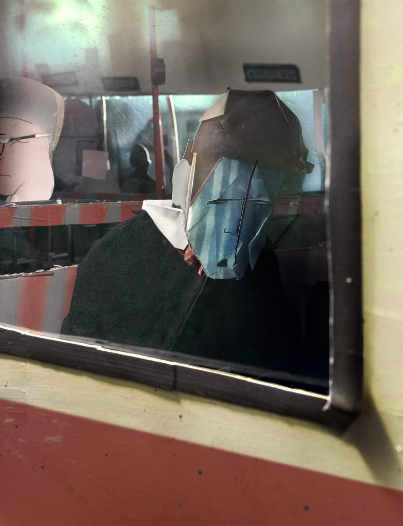 Mixed media work of an abstract figure asleep on a bus