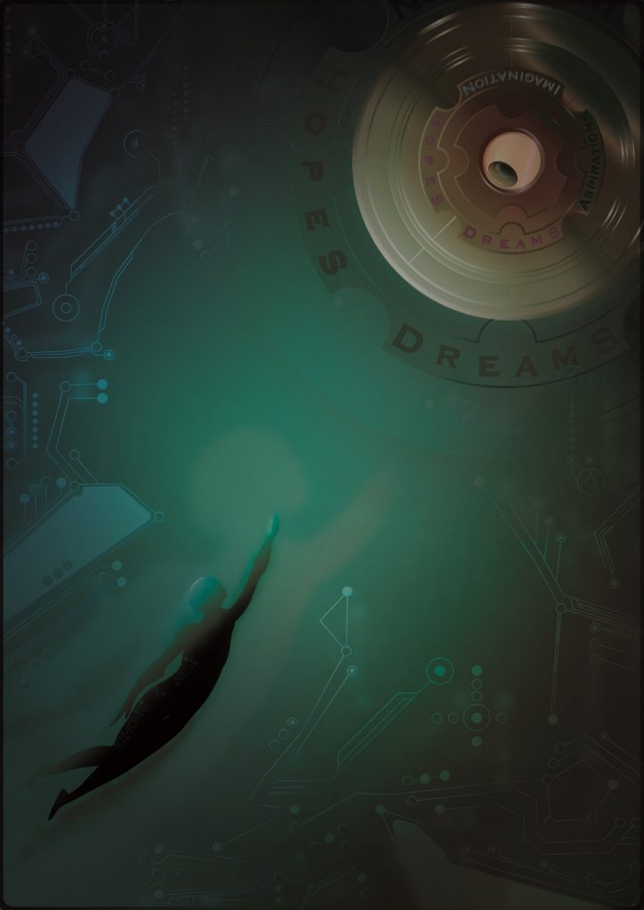 Digital print of a figure swimming towards a floating orb