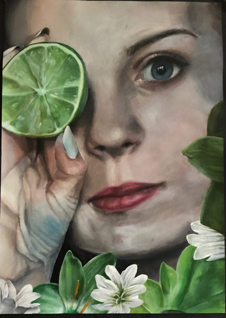 Acrylic painting of woman holding a cut lime to her face, with flowers