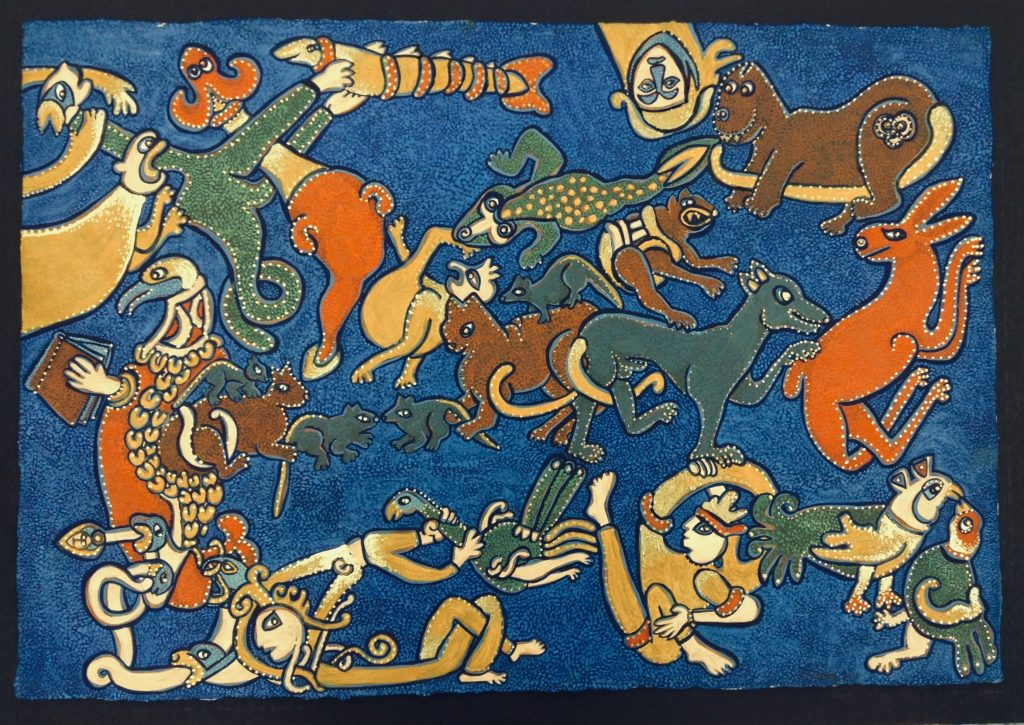 An oil painting of various animals on a blue background