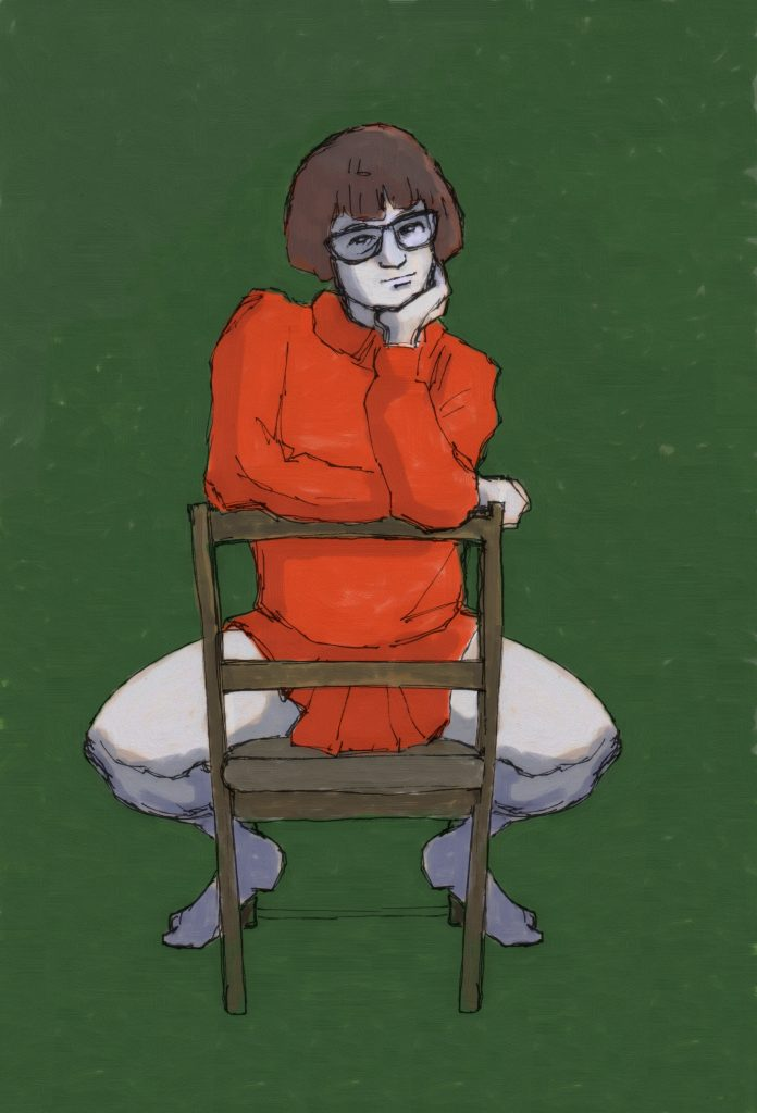 Mixed media work of a cartoon-like character sat backwards on a chair