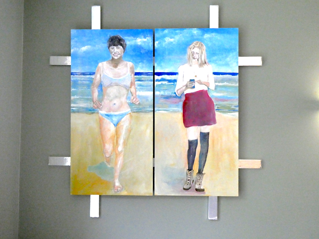 Acrylic painting of two women on the beach