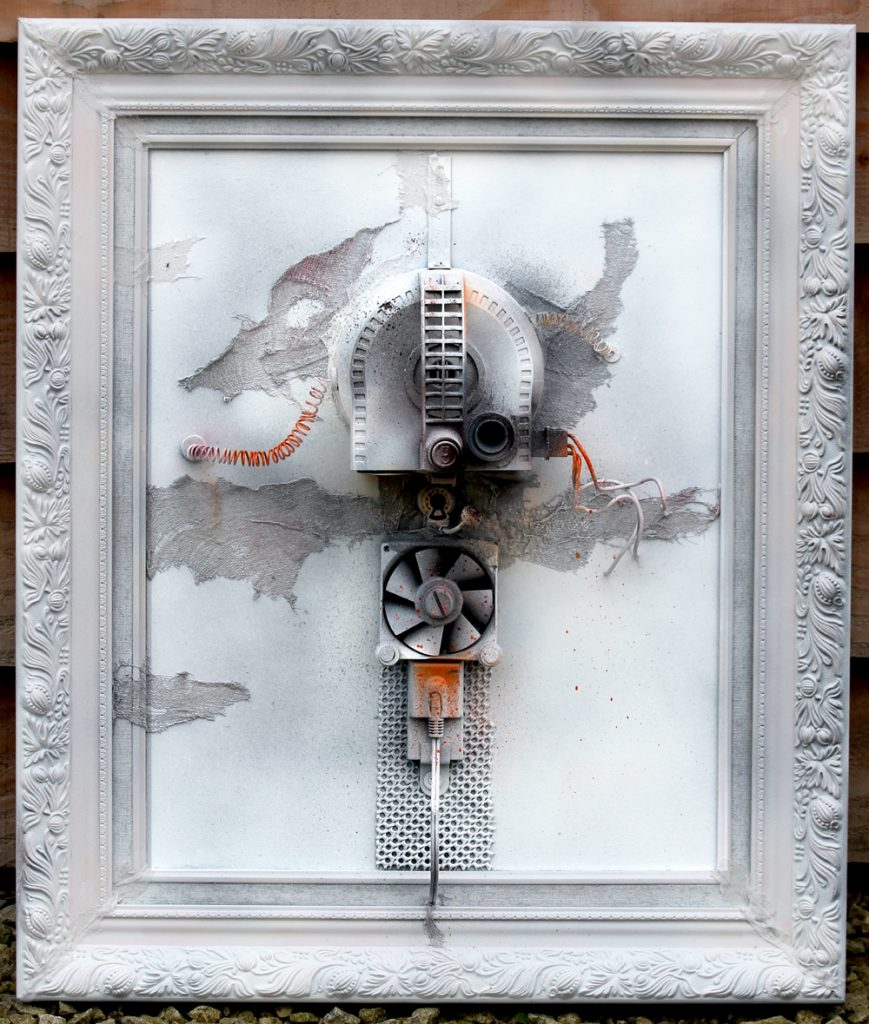Three dimensional mixed media work incorporating various mechanical parts