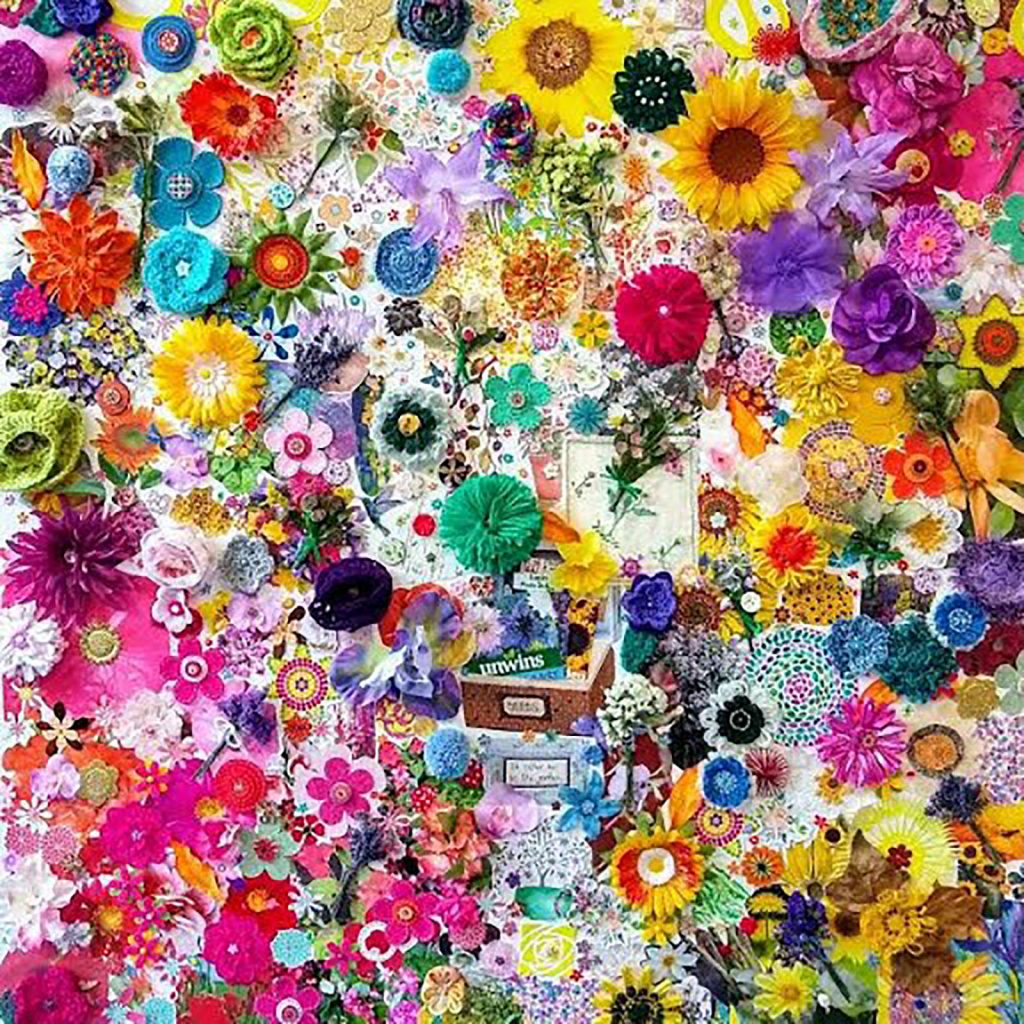 Mixed media work with hundreds of brightly colourful flowers