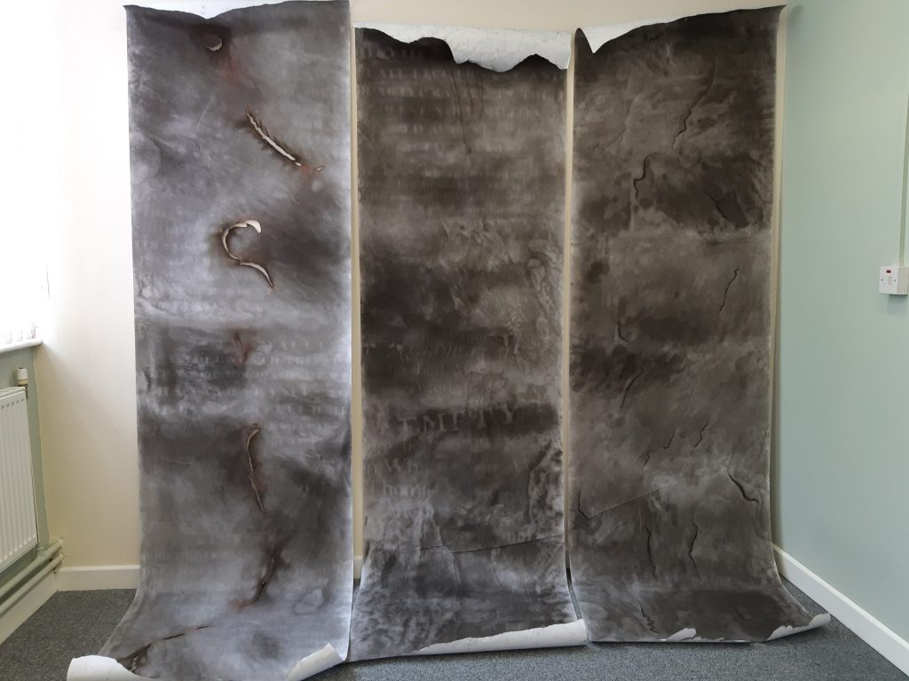 Large mixed media triptych works on paper