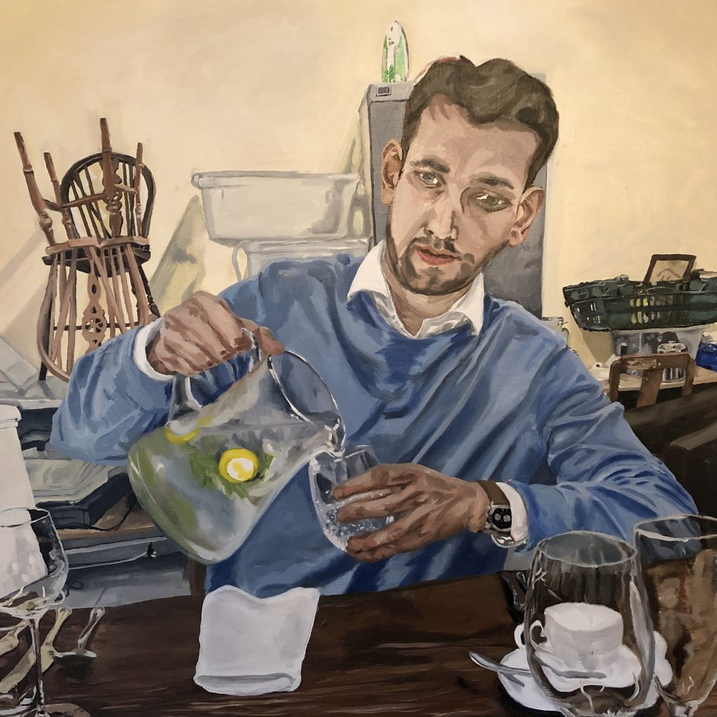 Oil painting of a man pouring a glass of water from a jug