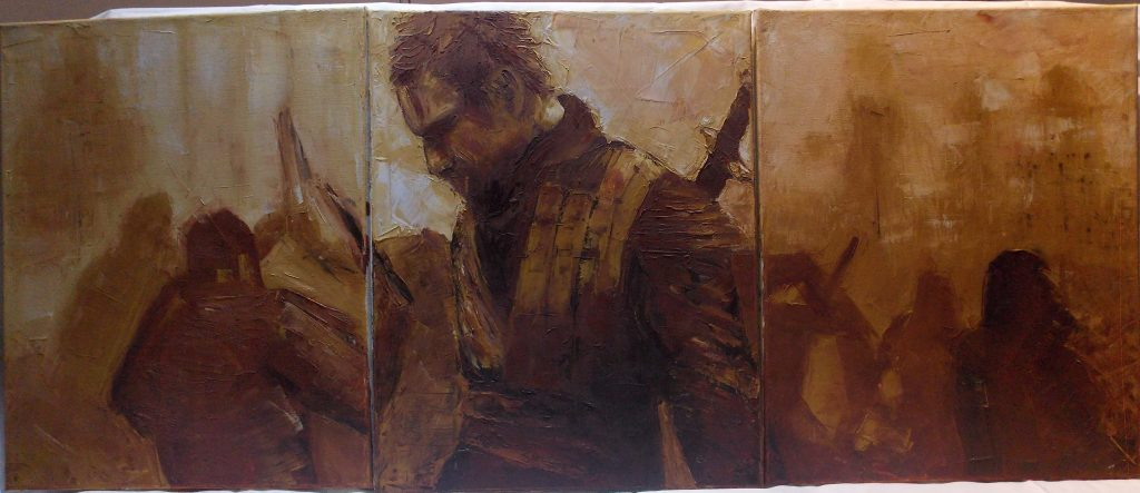 Oil painting of a man dressed for battle, in sepia tones