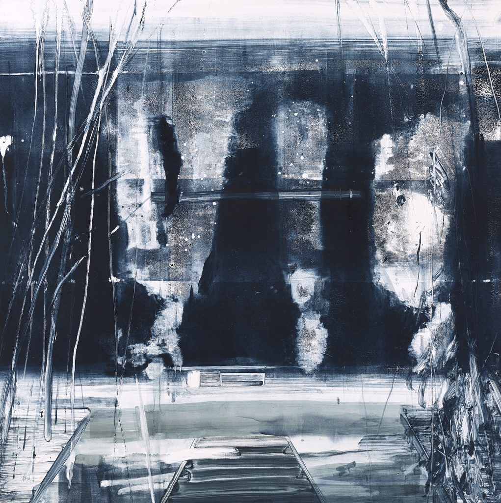 Abstract monoprint in ink-blue and white