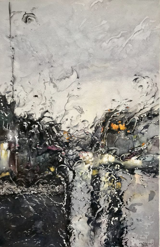 Watercolour painting of a gloomy street viewed through rainy glass