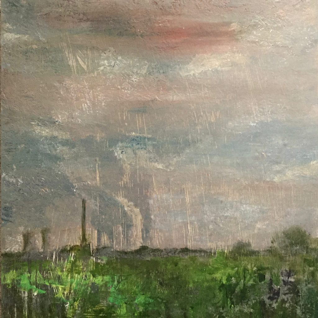 Oil painting of a rural landscape with a power station in the distance