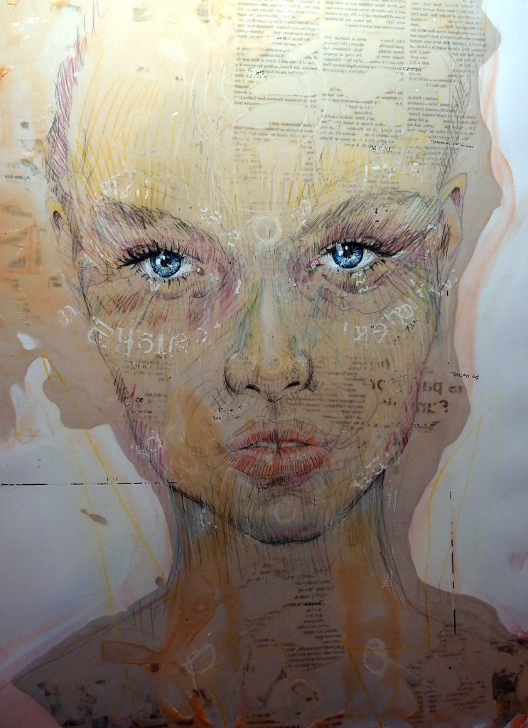 Mixed media portrait with blue eyes