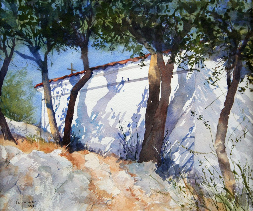 Watercolour painting of a white building with trees, against a blue sky