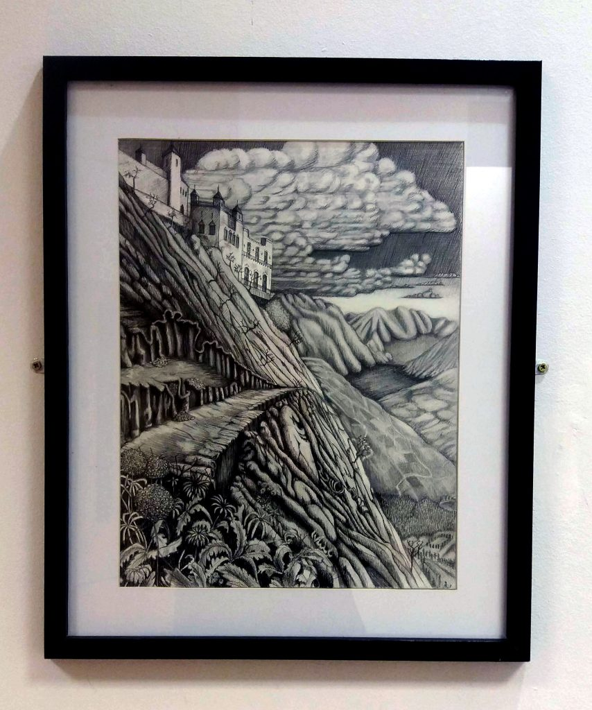 Pen and ink drawing of a mountainous landscape with a castle
