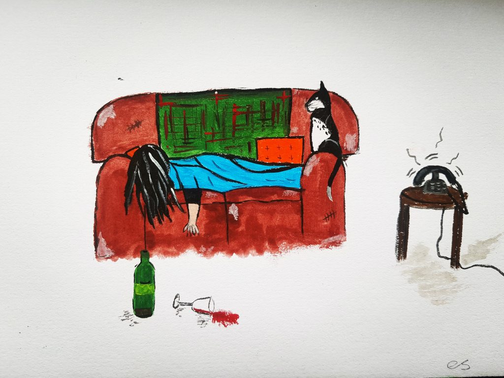 Watercolour painting of a figure laid on a sofa with a cat, and a bottle of wine