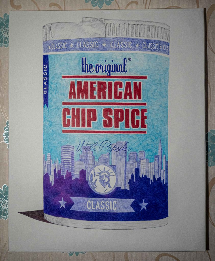 Pen and ink drawing of a pot of chip spice