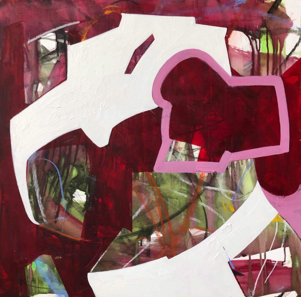 Abstract mixed media work in red tones