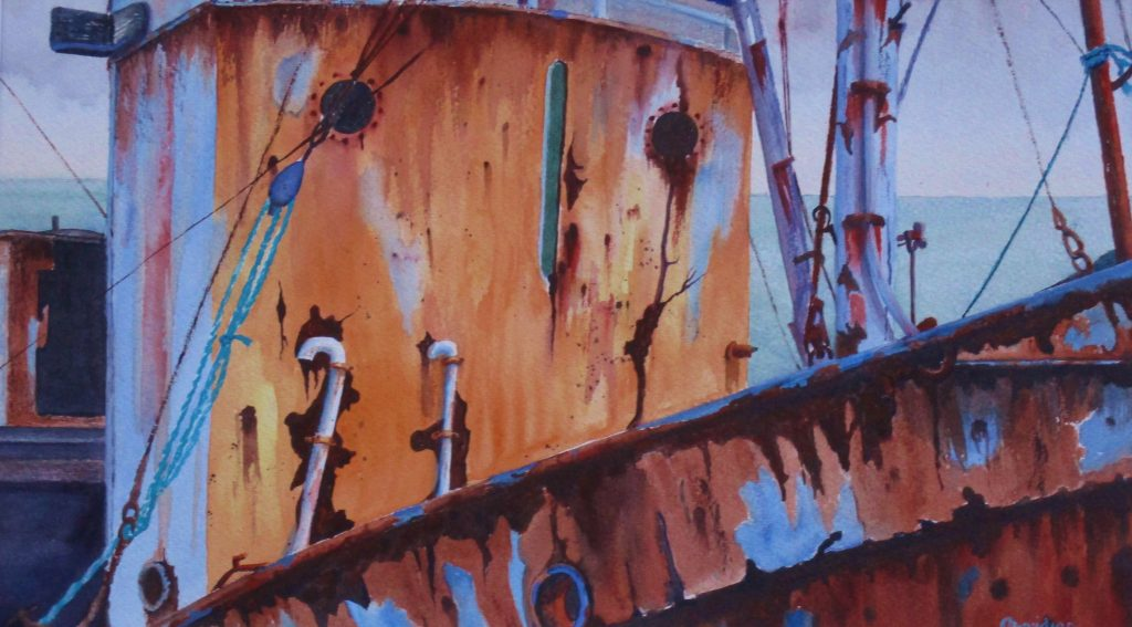 A watercolour, close-up painting of a rusty boat