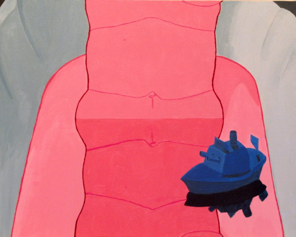 Acrylic painting of a pink, abstract figure with a blue toy ship