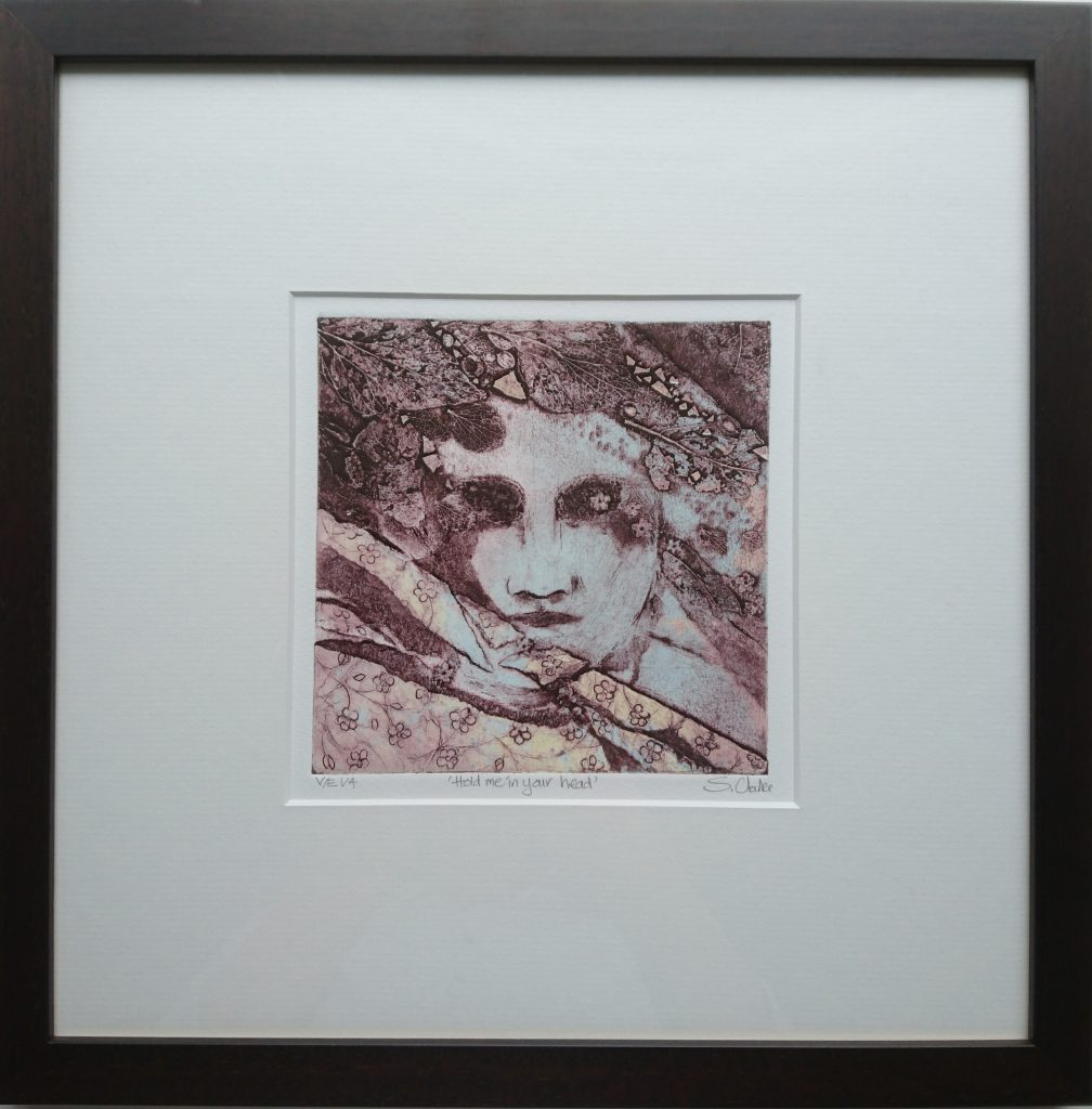 Collagraph print of a face