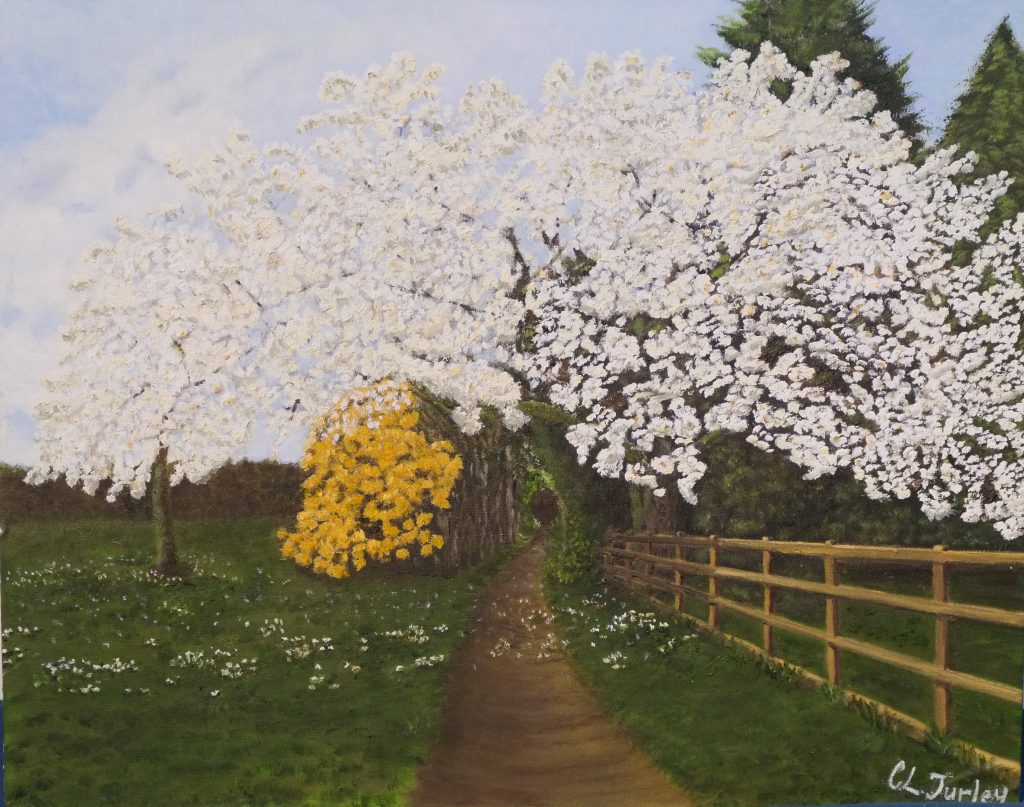 An oil painting of a blossom tree along a country lane