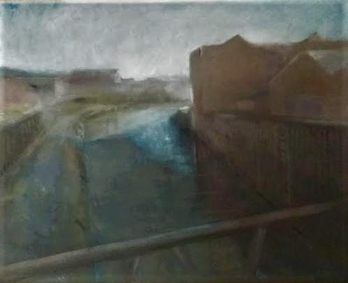 Pastel work of the river Hull as viewed from a bridge on a cloudy day