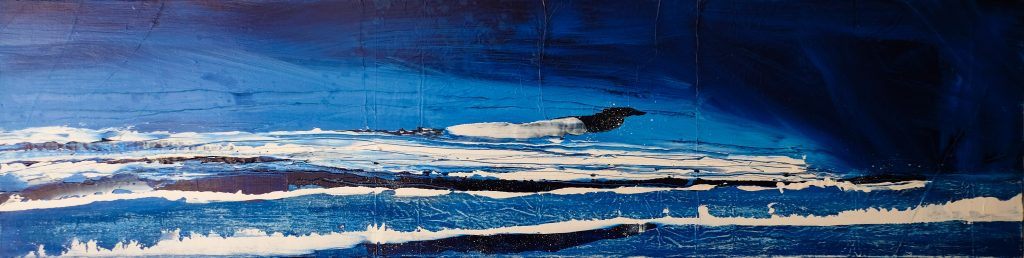 Acrylic abstract painting of bright blue seascape