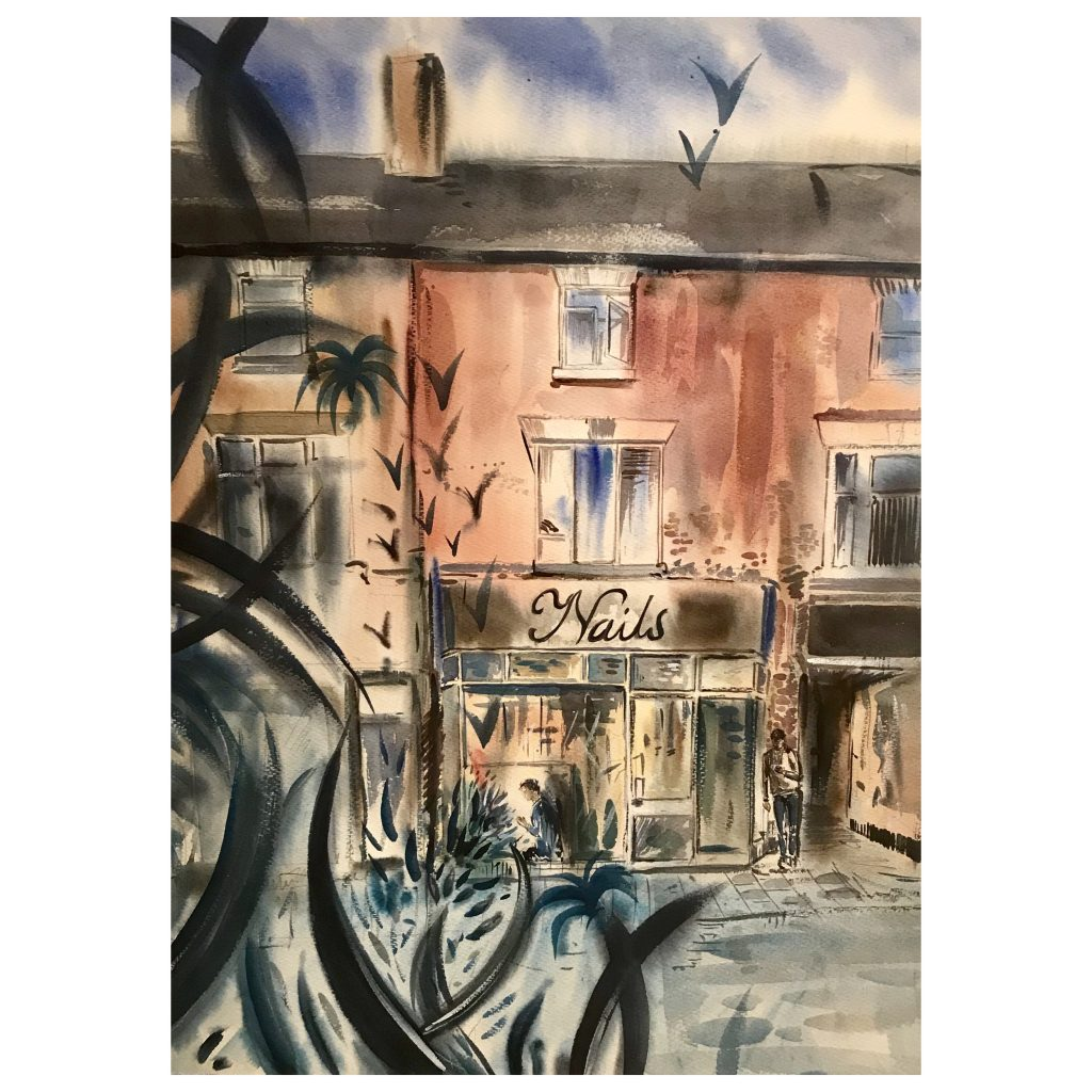 Watercolour of a shop front with foliage