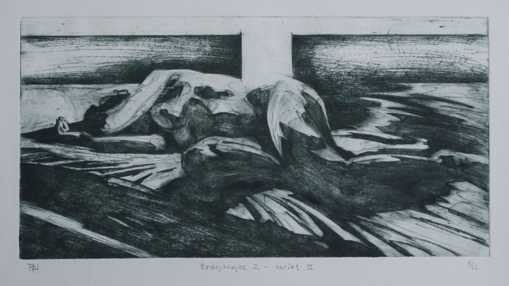Etching of a person laid down with arms covering their face