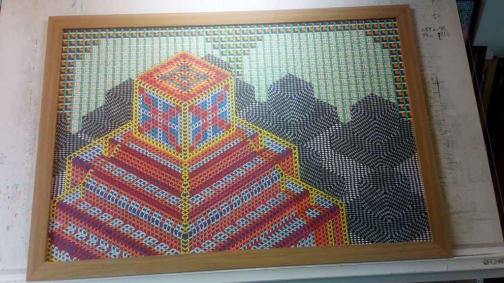Abstract pen and ink work of colourful stacked cubes