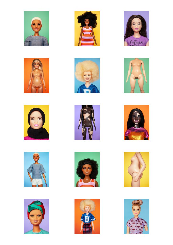 Digital print of various doll figures against colourful backgrounds