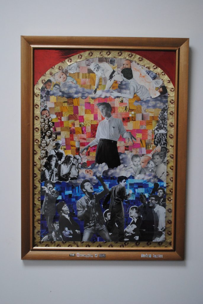 Paper collage work of Elvis Presley, surrounded by people
