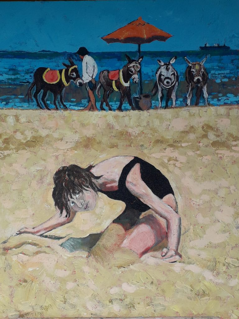 Acryclic painting of someone playing in th sand at the beach, with donkeys in the background