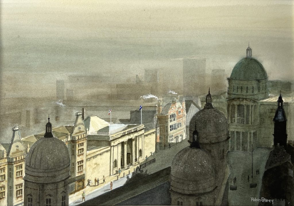 Watercolour painting of the Ferens Art Gallery as viewed fromabove Maritime Museum