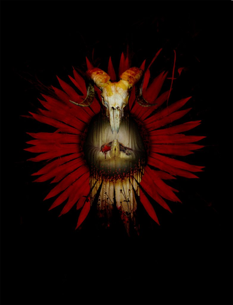 Digital print featuring a ram skull and red flower