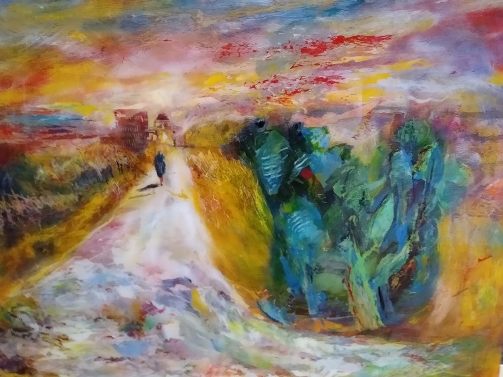 Acrylic painting of a path leading to a chapel in colourful tones
