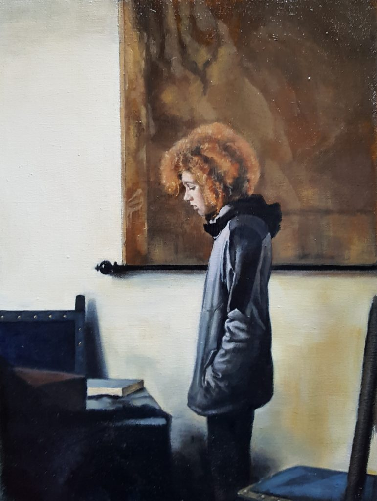 Oil painting of a child stood looking down with their hands in their coat pockets