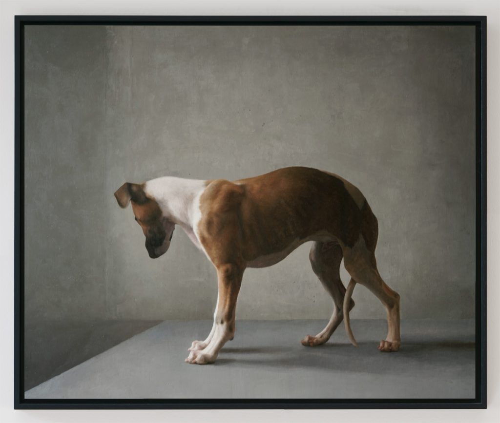 Oil painting of a young dog, looking away with its tail between its legs