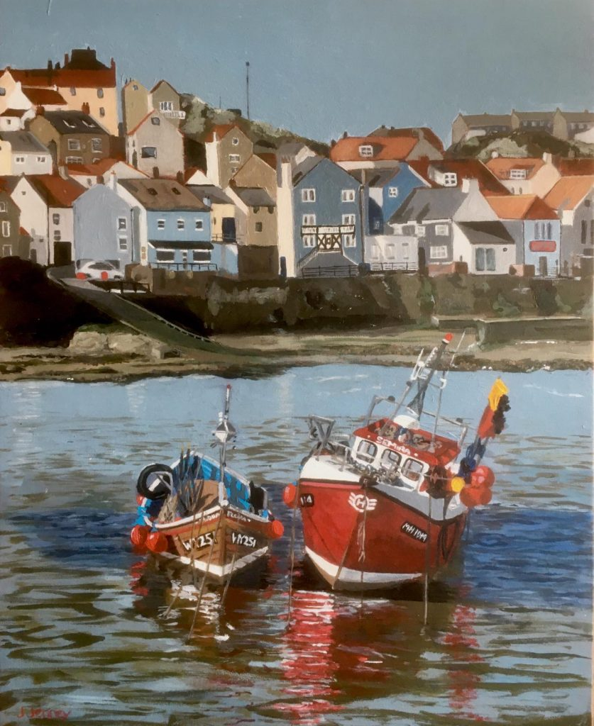 Acrylic painting of two boats in a harbour