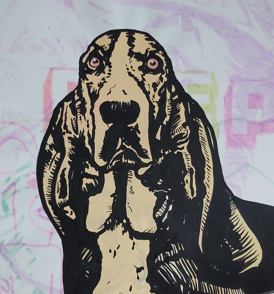 Mixed media work of a dog looking directly at the viewer
