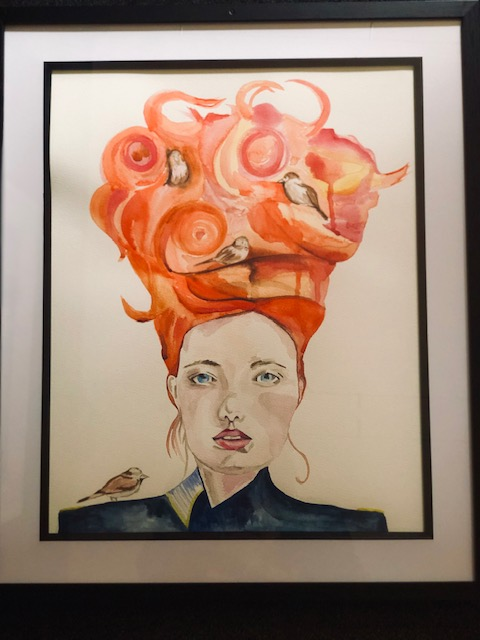 Watercolour painting of a woman with tall red hair with birds nesting in it