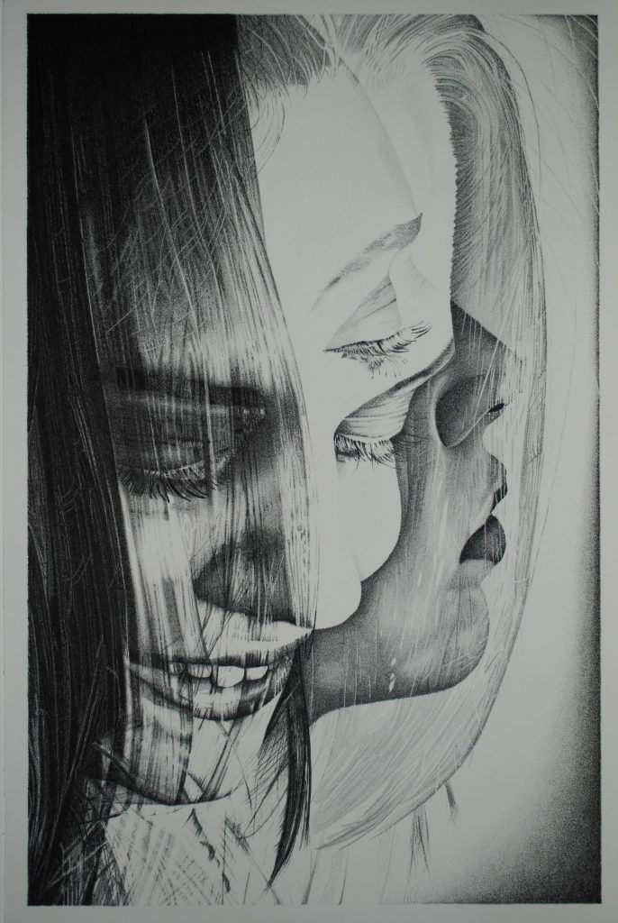 Pen and ink drawing of a woman's face from various perspectives