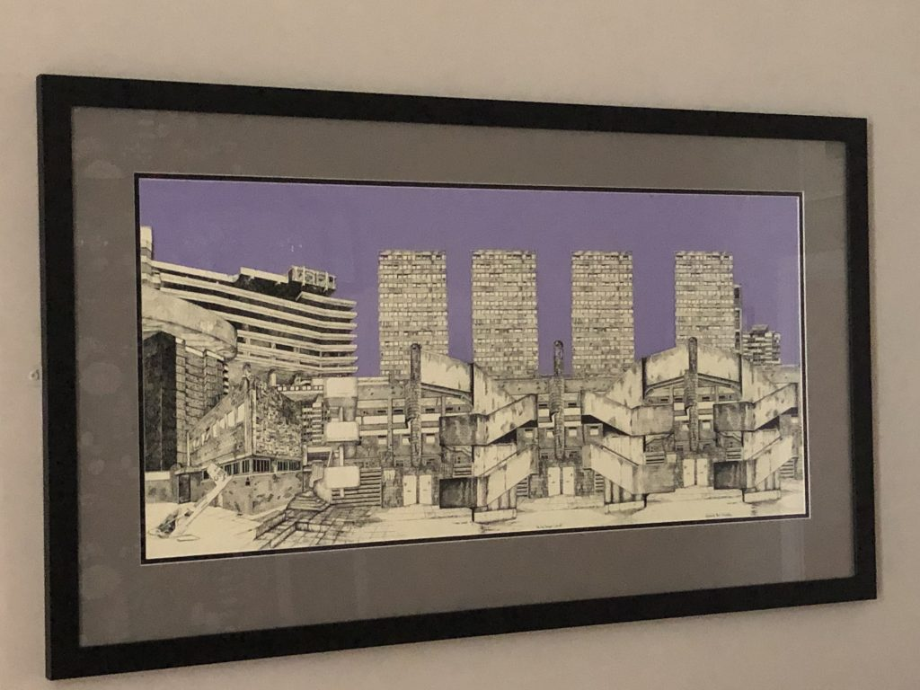 Pen and ink work of a city scene with a purple background