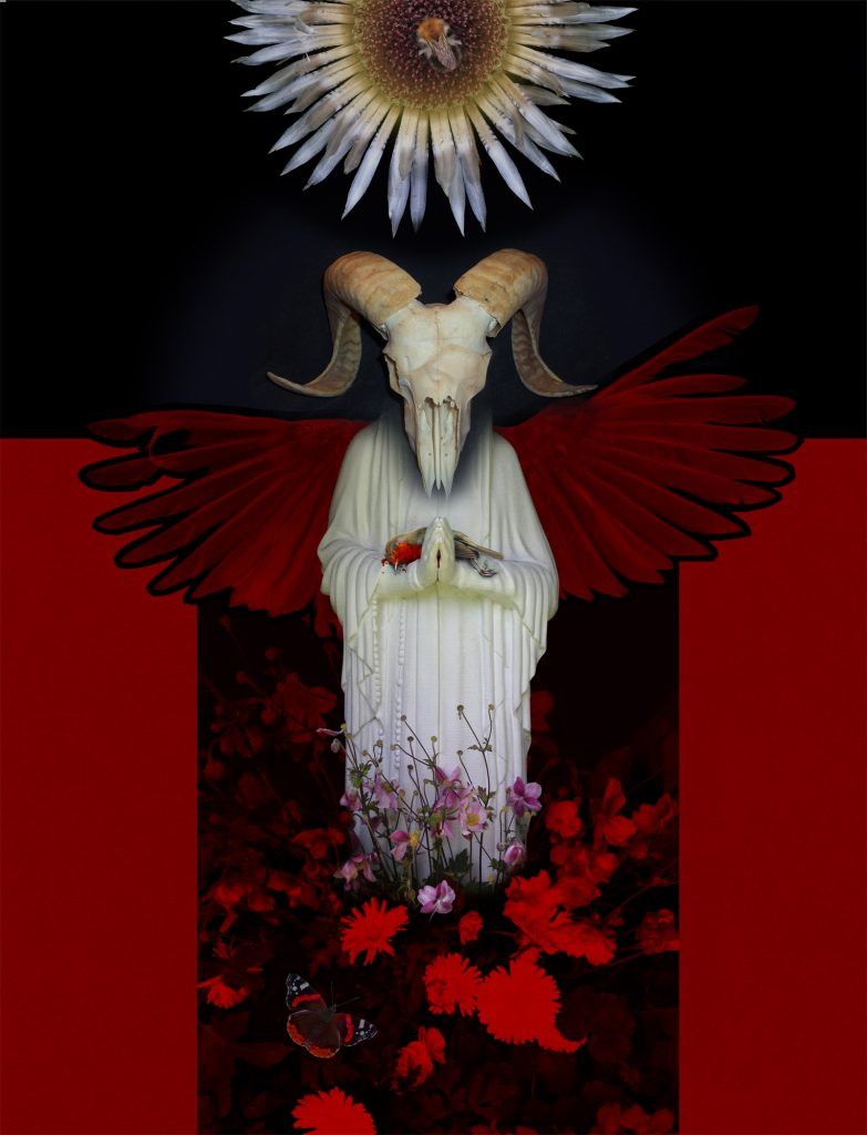 Digital print of a figure with a ram skull with flowers