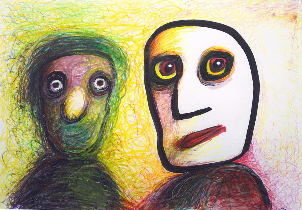 Mixed media work of two colourful abstract figures