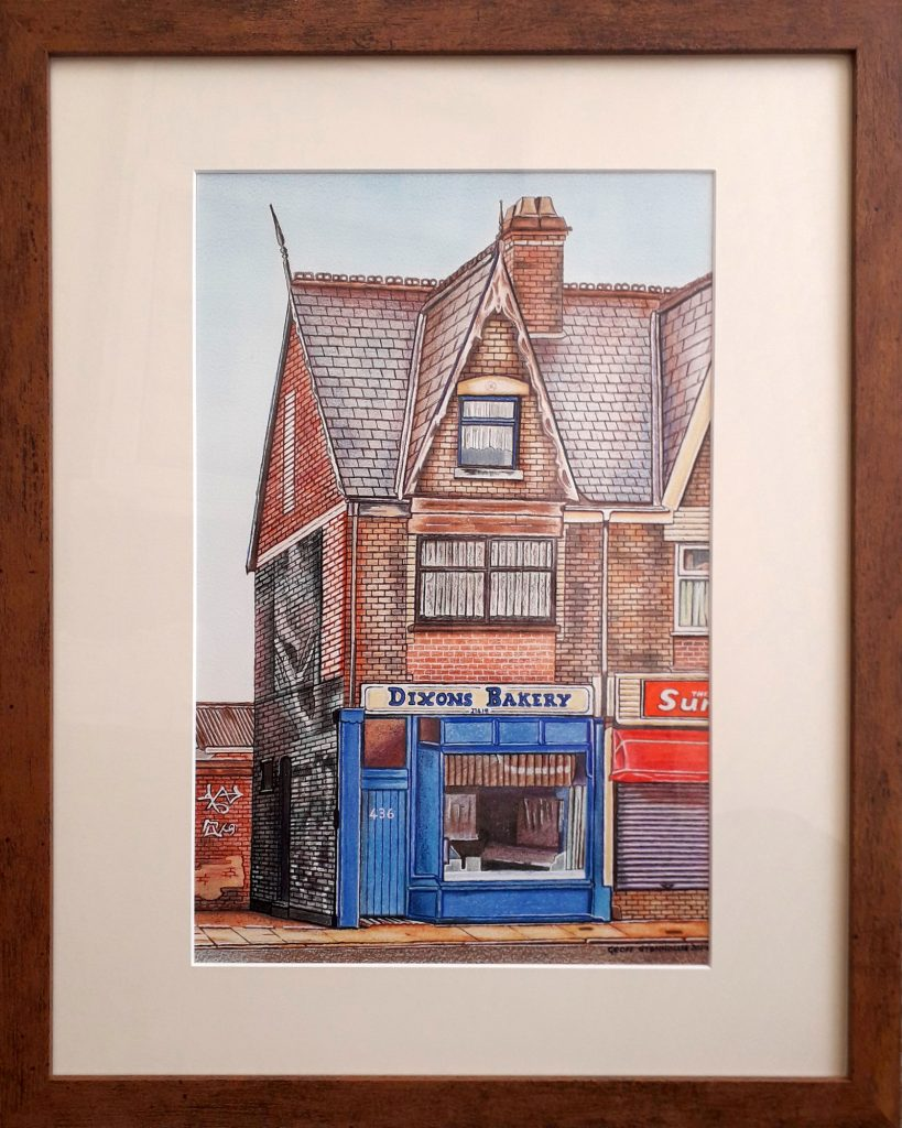 A coloured pencil drawing of the exterior of Dixon's Bakery